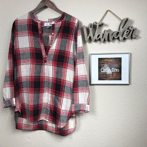 Old Navy Black, White, and Red Plaid Tunic